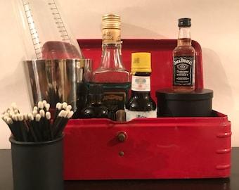 Vintage Metal Red Tool Box, Red Storage Box