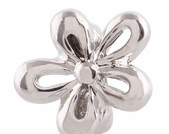 LM1909S ~ Silver Plated Flower Charm for Leather Wrap Charm Bracelets
