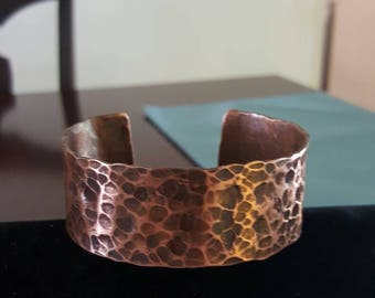 Hammer textured heavy duty copper cuff bracelet