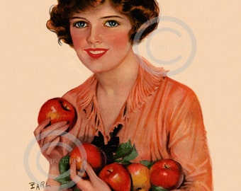 Art Deco Farm Charm Print,  Earl Christy Flapper, Jazz age girl holding apples, Apple Picking Time, Wall Decor, Giclee Art, 11x14, 1921