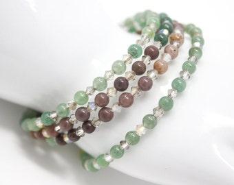 Aventurine Bracelet, Memory Wire Bracelet, Beaded Wrap Bracelet, Army Green and Brown Bracelet, Camo Bracelet, Earth Tones, Natural Gemstone