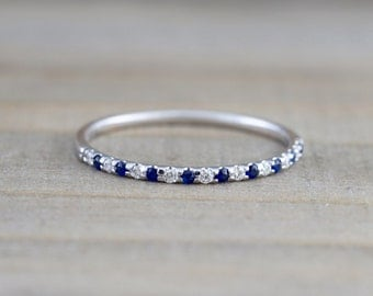 14k White Gold Diamond Sapphire Dainty Thin Halfway Eternity Band Wedding Anniversary Engagement Promise Stackable Ring