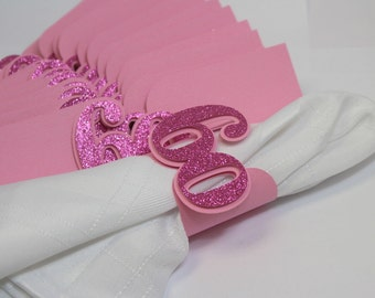Pink Glitter 60 Napkin Holders, 12pcs