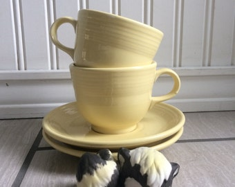 Pale Yellow Fiesta Teacups and Saucers, Fiesta Ware, Homer Laughlin China Co, Coffee Cup, Retired Fiesta Ware