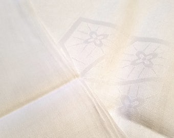 Vintage Art Deco, Arts and Crafts Linen Damask Tablecloth with Floral and Geometric Design