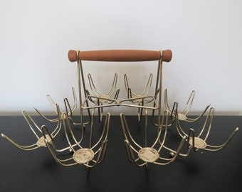 Mid Century Modern MCM Atomic Roly Poly Glasses Caddy Holder