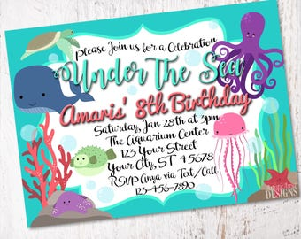 Under the Sea Birthday or Baby Shower Invitation - 5x7 Digital Invitation - DIY Printable - Ocean Themed Party - Sea Life Underwater Animals
