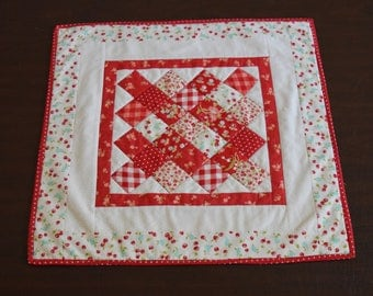 """Quilted Vintage Picnic Cherry Table Topper 22"""""""