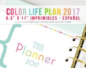 COLOR life plan 2017 Spanish - Printables Pages A4 format - Digital Instant Download