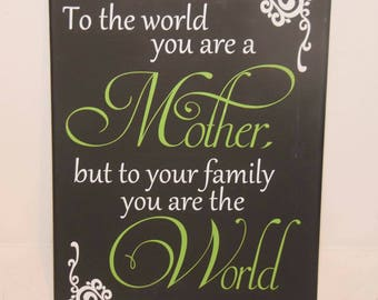 Gift for Mom - Gift for her - To the world you're a mother but to your family you are the world - gift for mother - inspirational quote