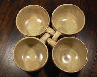 Handmade Coffee Mug set of 4, soup mugs, cocoa mugs, ceramic mugs, functional rustic pottery