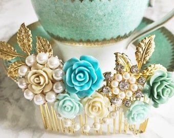Hair comb, ornate hair accessory,gold,blue, turquoise bridesmaid, flower girl, vintage