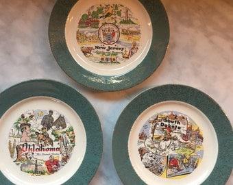 Vintage Souvenir state plates-New Jersey, South Dakota, and Oklahoma