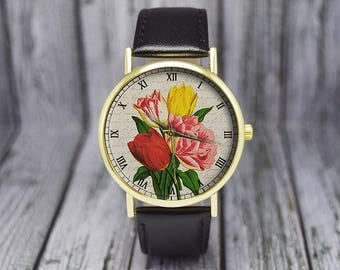 Vintage Tulips Flower Watch | Floral Watch | Botanical | Leather Watch | Women's Watch | Birthday | Wedding | Gift Ideas | Fashion Accessory