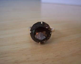 Vintage Natural Round Smoky Quartz Solitaire in 14Kt Yellow Gold