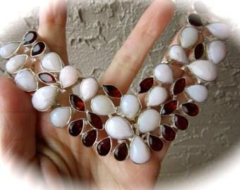 Peruvian Pink Opal and Garnet Sterling Silver Bib Chain Necklace