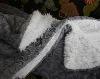 Gray Leaf Embossed Minky and White Cuddle Llama Minky Adult Throw
