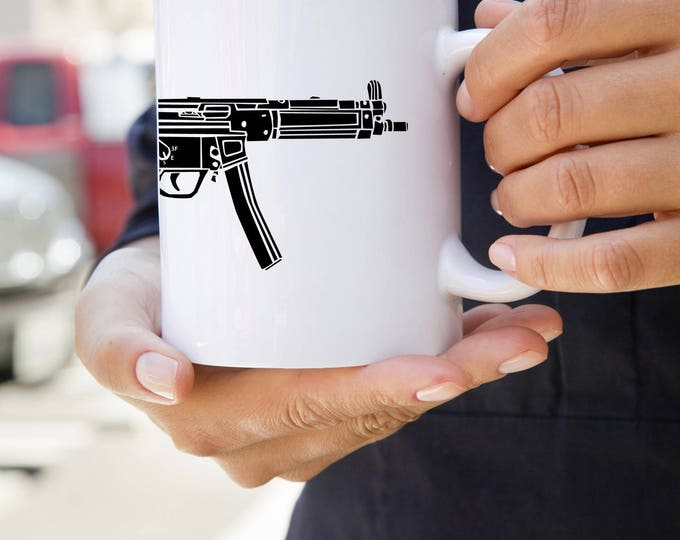 KillerBeeMoto:  U.S. Made HK MP5 Submachine Gun  On A Coffee Mug