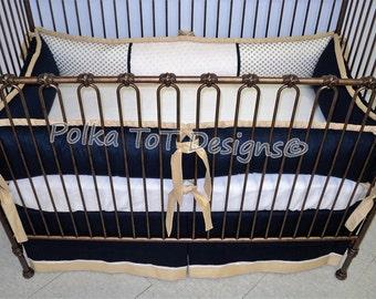 Navy & Metallic Gold Baby Bedding : Gender Neutral/Unisex Crib Set - Tanner