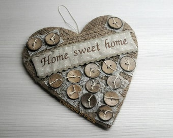 Fuoriporta heart shaped wood home Sweet home