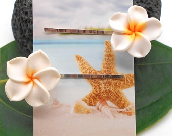 Hair Jewelry, Plumeria Hair Pins - Beach Wedding, Hair Pins, Flowers for Hair, Hair Accessory, Plumeria