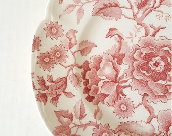 Vintage Luncheon Plate With Red Floral Design For Wedding, Dinner Party, Bridal Shower, Tea Party, Replacement, Mismatched Dishes,