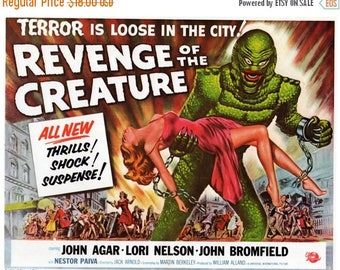 "50% Off Estate Sale Vintage Horror Science Fiction Movie Poster Print, 1954, Revenge of the Creature, PMSF 8"" x 10"""