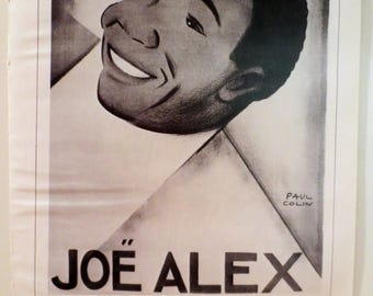 "50% Off Estate Sale Vintage Paul Colin Poster, Black and White 2 sided 1926 Joe Alex and 1926 Olive Negres Paris 16"" x 11"", Item 1001"