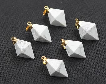 Howlite Pendants -- With Electroplated Gold Edge Charms Wholesale Supplies YHA-100,MHA