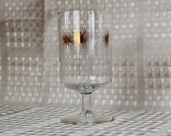 Set of 4 Wine Glasses ~ Federal Glass Co. ~ Mid Century ~ MCM ~ Atomic ~ Starburst ~ Sunburst ~ Snowflake