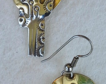 Vintage cactus brass and silver southwestern style hand made and hand crafted dangle earrings