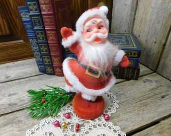 Mid Century Vintage Red Flocked Dancing Santa - Blow Mold