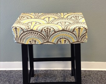 Fitted saddle stool seat cushion, rectangular cover, kitchen counterstool seat cover, washable home decor fabric, many fabrics available