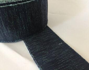 2 in - 5 cm wide indigo shimmery waistband  2 in - 5 cm wide glitter elastic, shimmery webbing, shimmery elastic,