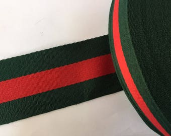 "2.4"" green and red striped ribbon,  grosgrain ribbon, striped grosgrain ribbon, polyester ribbon, belt ribbon"