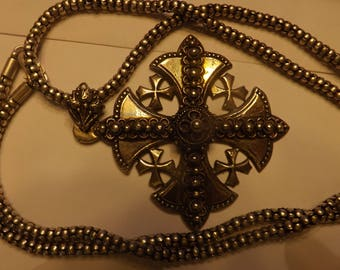 Huge Sterling Silver Jerusalem Cross 65 Grams five crosses representing the 5 Wounds of Our Lord! Gorgeous A Rare find,great shape for age!