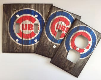 Chicago Cubs baseball sports fan vintage rustic GRAY Light switch cover // SAME DAY Shipping !! **