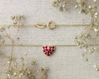 Petite Ruby Heart Necklace | Pave Setting | 16-18 Inches | 8x8 Face Dimension | Solid 14K Gold | Fine Jewelry | Free Shipping