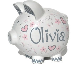 "Elegant Hearts Personalized Piggy Bank | Hand-painted Ceramic | Large Size: 8""x7.5""x7"" 