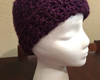 Purple crochet hat