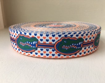 1/3/5/7/10 Yards Florida Gators 1 INCH Grosgrain Ribbon