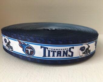 "1/3/5/7/10 Yards Tennessee Titans 7/8"" Grosgrain Ribbon"