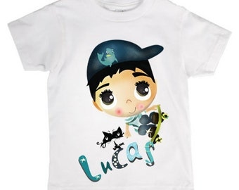 boy's  t shirt stamp/baby t shirt/skating/ illustration/t shirt with your name/personalized baby t shirt/boy illustartion/Lucas