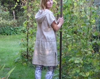 Loose Linen Tunic With Hood / Hooded Linen Tunic / Linen Tunic Dress / Natural Linen Tunic / Hoody