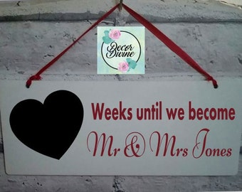 Wedding Countdown Plaque/wedding tracker/wedding countdown/ wedding planner/wedding gift/wedding hanging plaque