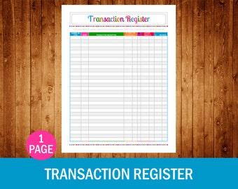 printable checkbook transaction register