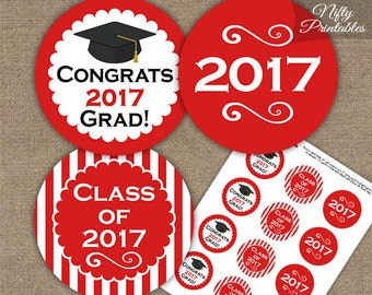 Red Graduation Cupcake Toppers - Printable 2017 Graduation Decorations - Red White Class of 2017 Graduation Party Printable