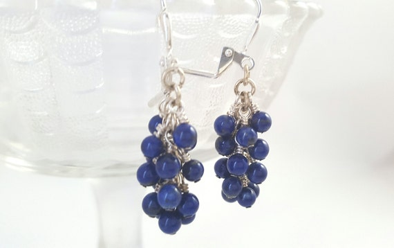 Lapis Lazuli Cluster Earrings - Dark Blue Stone Earrings - Blue Gemstone Earrings - Dark Blue Dangle Earrings - Grape Earrings - Bohemian