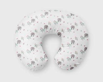 Nursing Pillow Cover Floral Elephant. Nursing Pillow Cover. Elephant Boppy Cover. Baby Bedding. Nursing Pillow Cover. Mod Boppy.