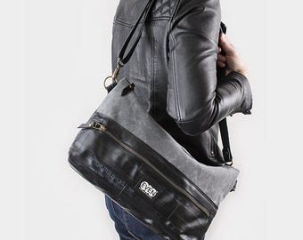 Crossbody Bag made from waxed canvas and recycled bike inner tubes